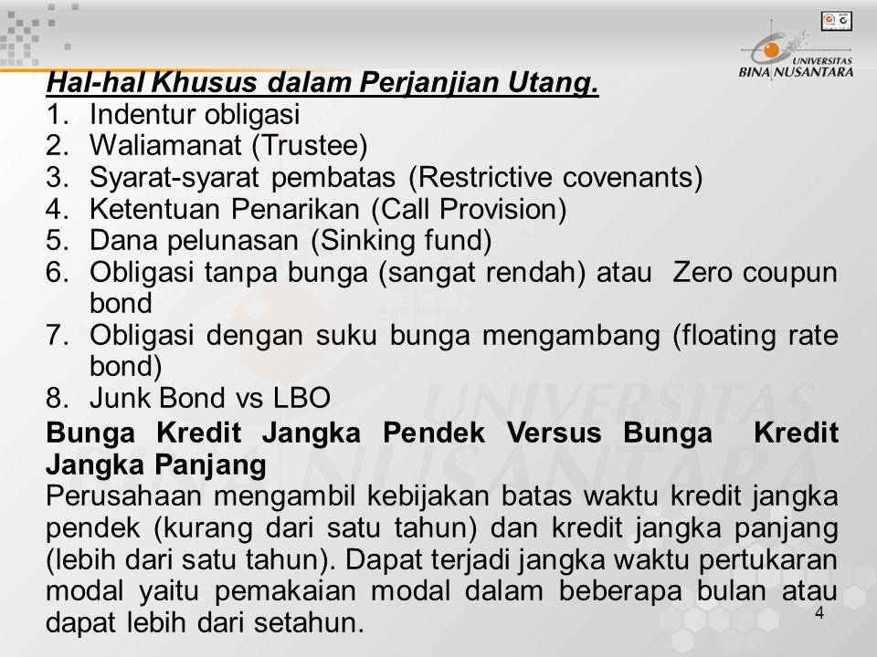 4 Hal-hal Khusus dalam Perjanjian Utang. 1.Indentur obligasi 2.Waliamanat (Trustee) 3.Syarat-syarat pembatas (Restrictive covenants) 4.Ketentuan Penar