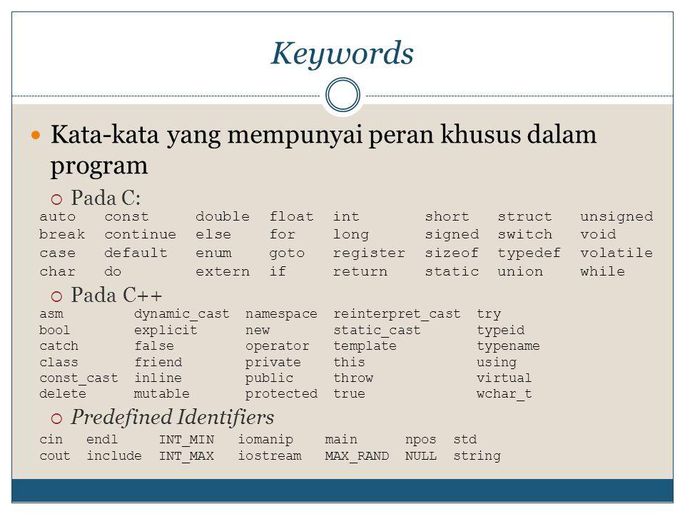 Case sensitive Huruf kecil ≠ huruf besar Identifier alamat ≠ Alamat ≠ ALAMAT Contoh: #include using namespace std; void main() { char nama= Evi ; char Nama= Eva ; char NAMA= Evo ; cout<< String yang dicetak: <<Nama; _getch(); }