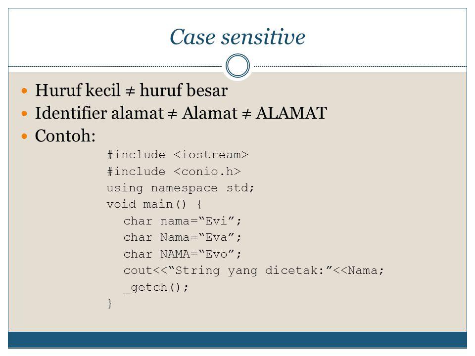 "Case sensitive Huruf kecil ≠ huruf besar Identifier alamat ≠ Alamat ≠ ALAMAT Contoh: #include using namespace std; void main() { char nama=""Evi""; char"