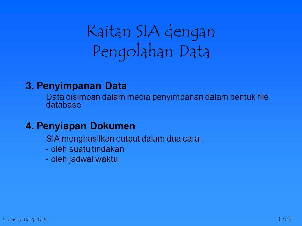 C'tive by Ticha 2004Hal 87 Kaitan SIA dengan Pengolahan Data 3. Penyimpanan Data Data disimpan dalam media penyimpanan dalam bentuk file database 4. P