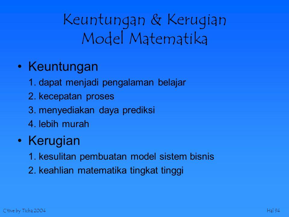C'tive by Ticha 2004Hal 94 Keuntungan & Kerugian Model Matematika Keuntungan 1.