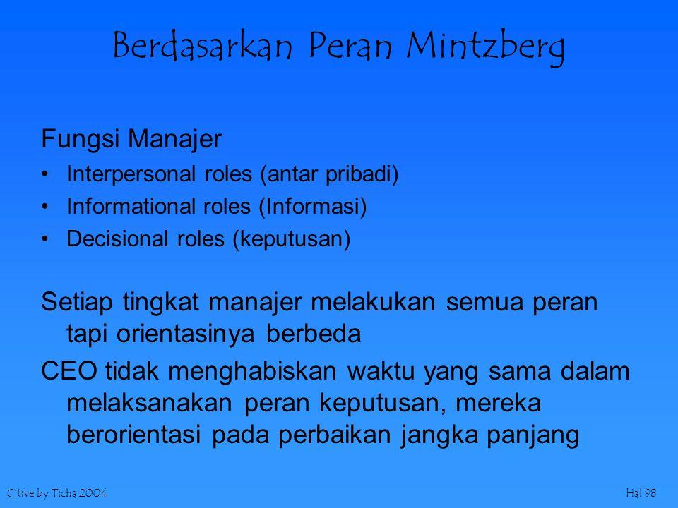 C'tive by Ticha 2004Hal 98 Berdasarkan Peran Mintzberg Fungsi Manajer Interpersonal roles (antar pribadi) Informational roles (Informasi) Decisional r