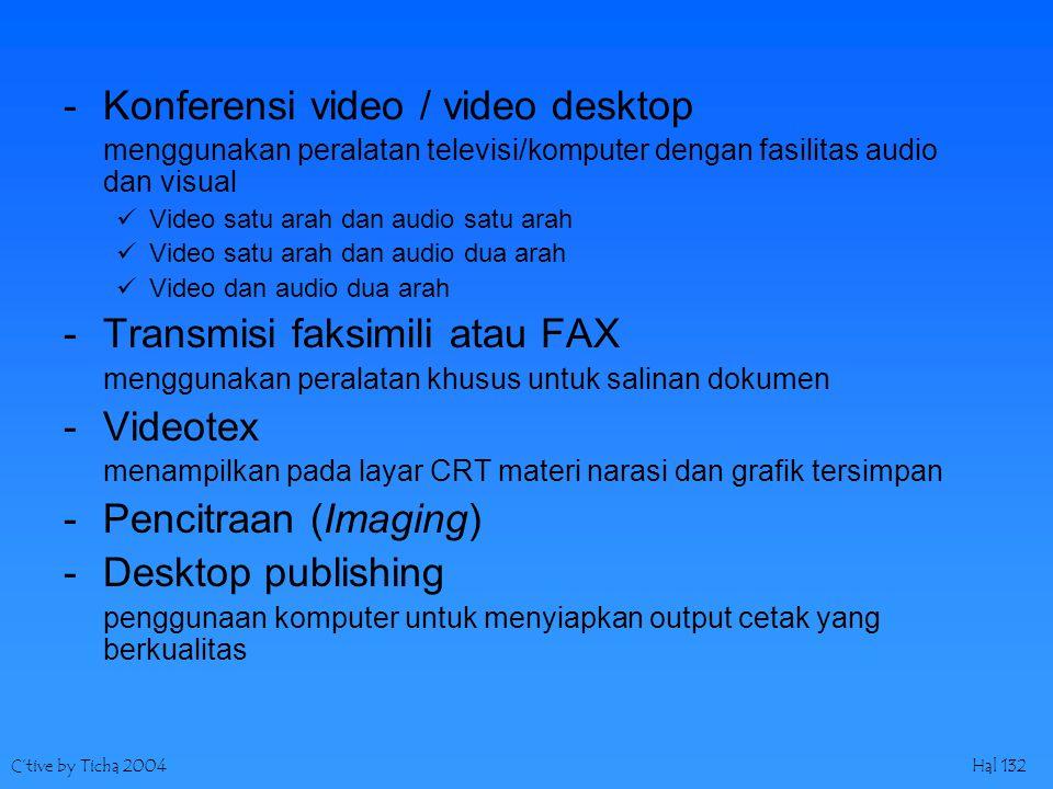 C'tive by Ticha 2004Hal 132 -Konferensi video / video desktop menggunakan peralatan televisi/komputer dengan fasilitas audio dan visual Video satu arah dan audio satu arah Video satu arah dan audio dua arah Video dan audio dua arah -Transmisi faksimili atau FAX menggunakan peralatan khusus untuk salinan dokumen -Videotex menampilkan pada layar CRT materi narasi dan grafik tersimpan -Pencitraan (Imaging) -Desktop publishing penggunaan komputer untuk menyiapkan output cetak yang berkualitas