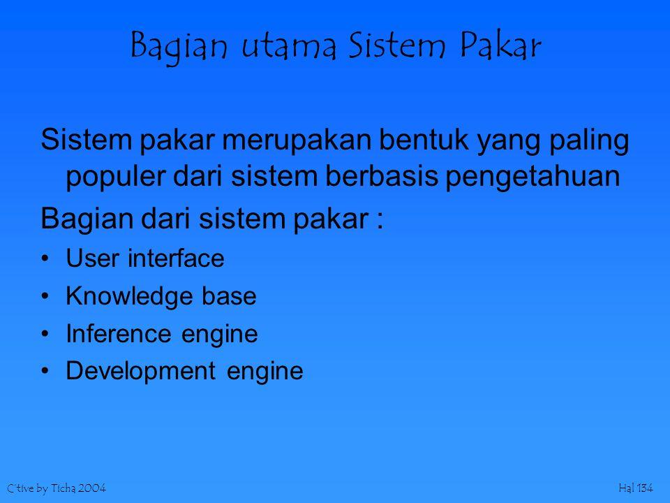 C'tive by Ticha 2004Hal 134 Bagian utama Sistem Pakar Sistem pakar merupakan bentuk yang paling populer dari sistem berbasis pengetahuan Bagian dari sistem pakar : User interface Knowledge base Inference engine Development engine