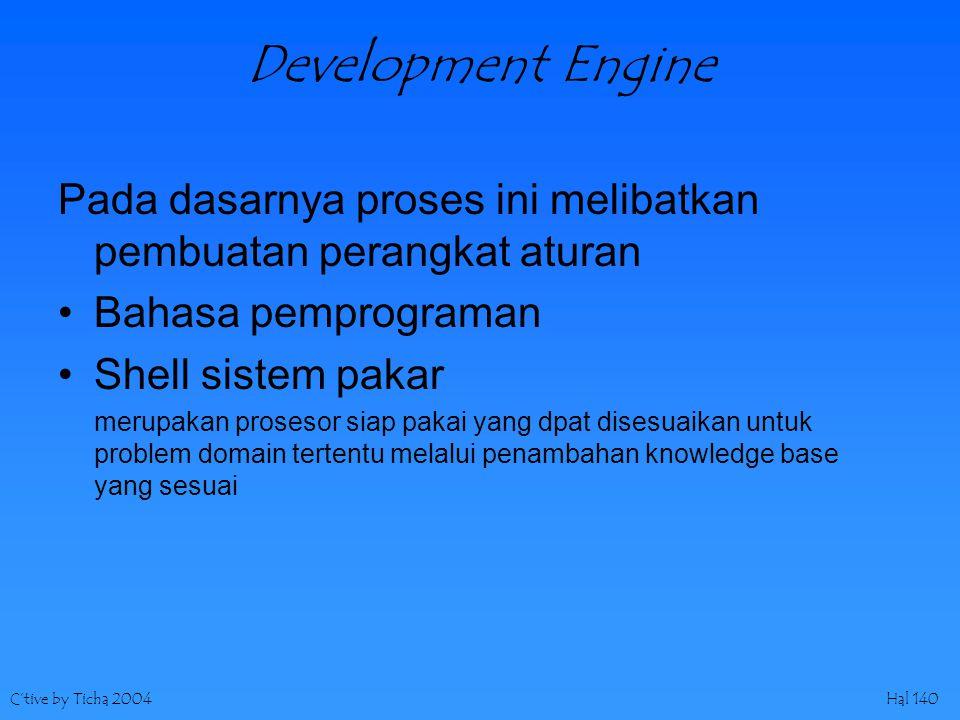 C'tive by Ticha 2004Hal 140 Development Engine Pada dasarnya proses ini melibatkan pembuatan perangkat aturan Bahasa pemprograman Shell sistem pakar m