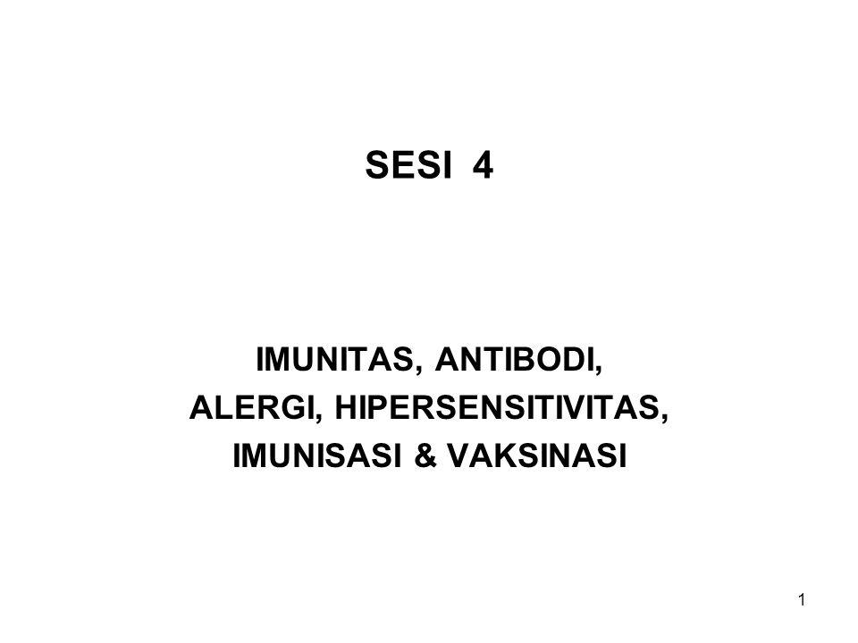 1 SESI 4 IMUNITAS, ANTIBODI, ALERGI, HIPERSENSITIVITAS, IMUNISASI & VAKSINASI