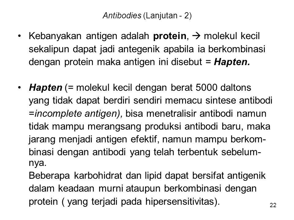 22 Antibodies (Lanjutan - 2) Kebanyakan antigen adalah protein,  molekul kecil sekalipun dapat jadi antegenik apabila ia berkombinasi dengan protein