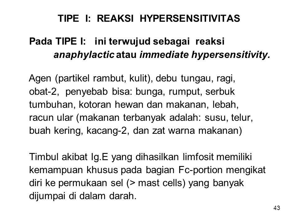 43 TIPE I: REAKSI HYPERSENSITIVITAS Pada TIPE I: ini terwujud sebagai reaksi anaphylactic atau immediate hypersensitivity. Agen (partikel rambut, kuli