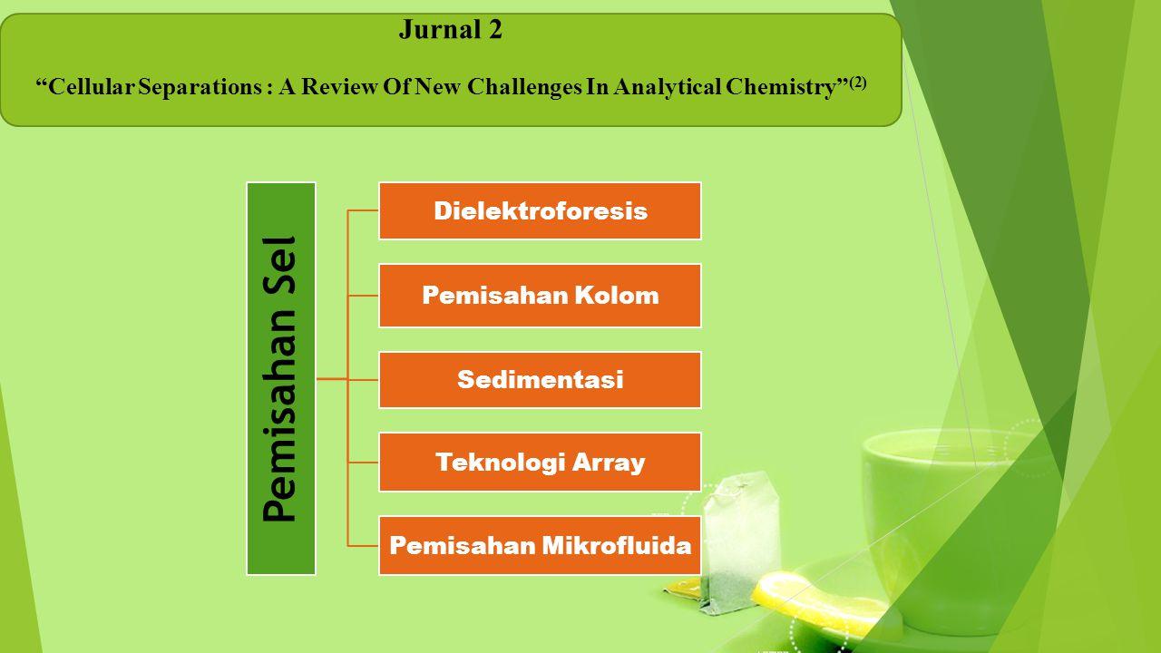 "Jurnal 2 ""Cellular Separations : A Review Of New Challenges In Analytical Chemistry"" (2) Pemisahan Sel Dielektroforesis Pemisahan Kolom Sedimentasi Te"