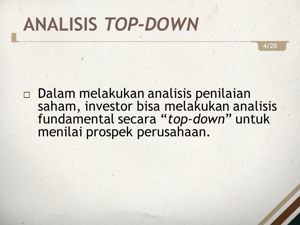 ANALISIS TOP-DOWN  Dalam melakukan analisis penilaian saham, investor bisa melakukan analisis fundamental secara top-down untuk menilai prospek perusahaan.
