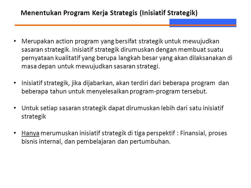 Menentukan Program Kerja Strategis (Inisiatif Strategik) Merupakan action program yang bersifat strategik untuk mewujudkan sasaran strategik. Inisiati