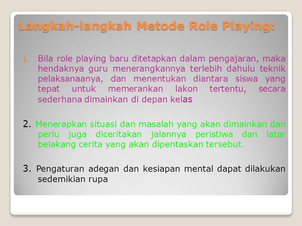 4.Setelah role playing itu dalam puncak klimas, maka guru dapat menghentikan jalannya drama.