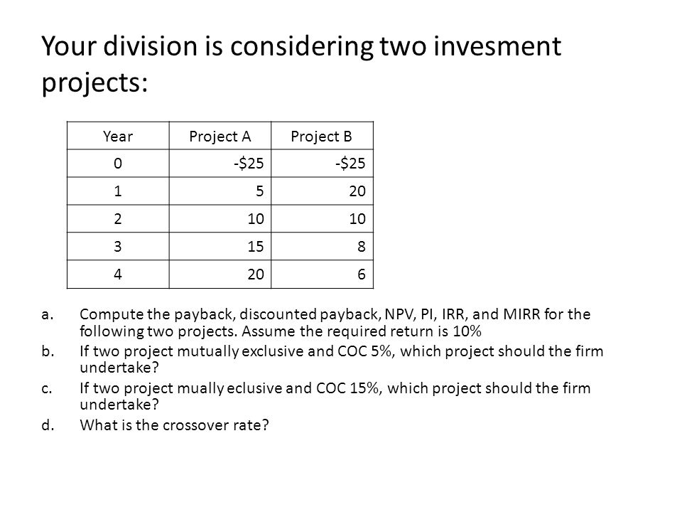 Your division is considering two invesment projects: a.Compute the payback, discounted payback, NPV, PI, IRR, and MIRR for the following two projects.
