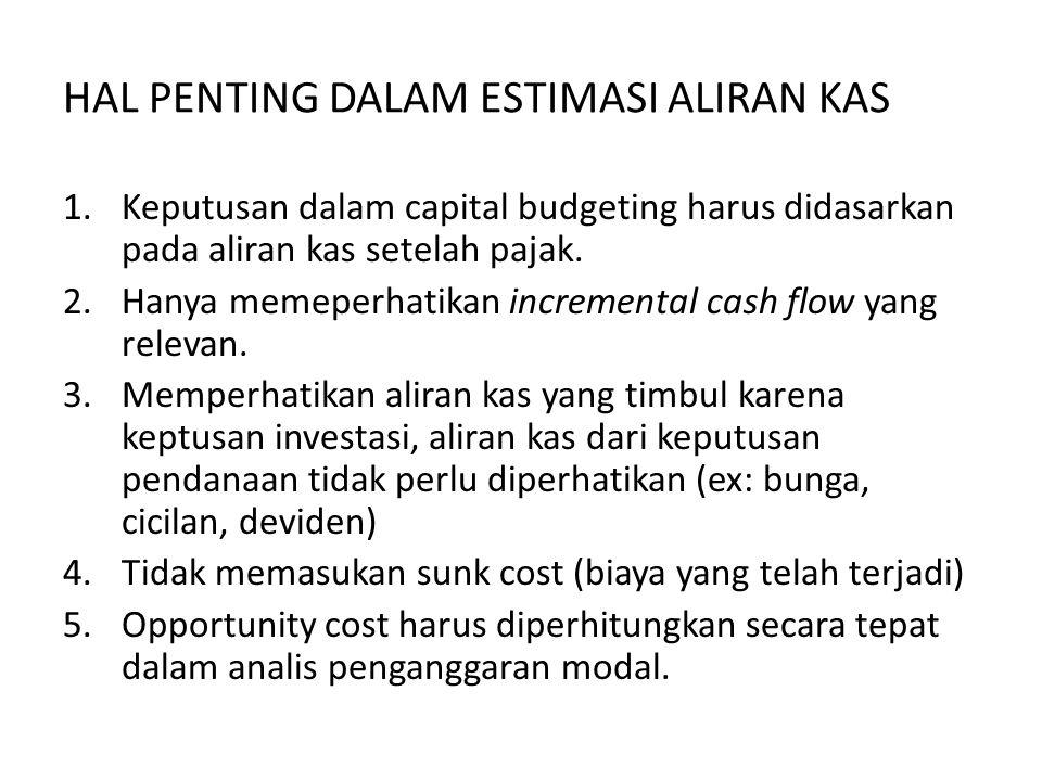 HAL PENTING DALAM ESTIMASI ALIRAN KAS 1.Keputusan dalam capital budgeting harus didasarkan pada aliran kas setelah pajak. 2.Hanya memeperhatikan incre