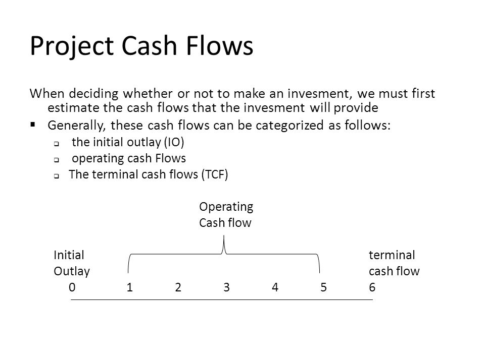 Project Cash Flows When deciding whether or not to make an invesment, we must first estimate the cash flows that the invesment will provide  Generally, these cash flows can be categorized as follows:  the initial outlay (IO)  operating cash Flows  The terminal cash flows (TCF) Operating Cash flow Initialterminal Outlaycash flow 0123456