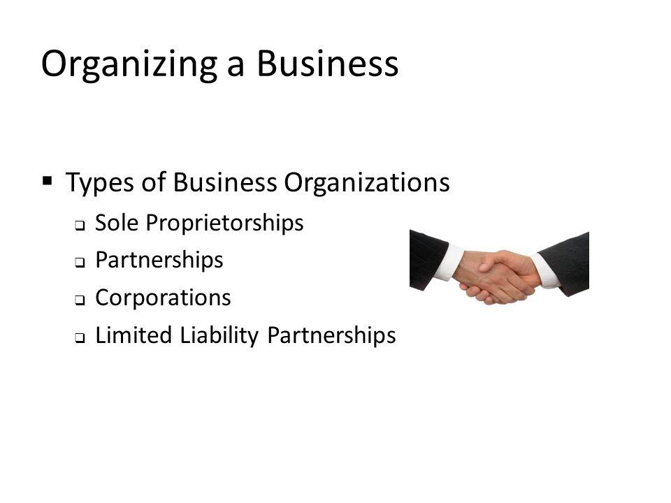 Organizing a Business  Types of Business Organizations  Sole Proprietorships  Partnerships  Corporations  Limited Liability Partnerships