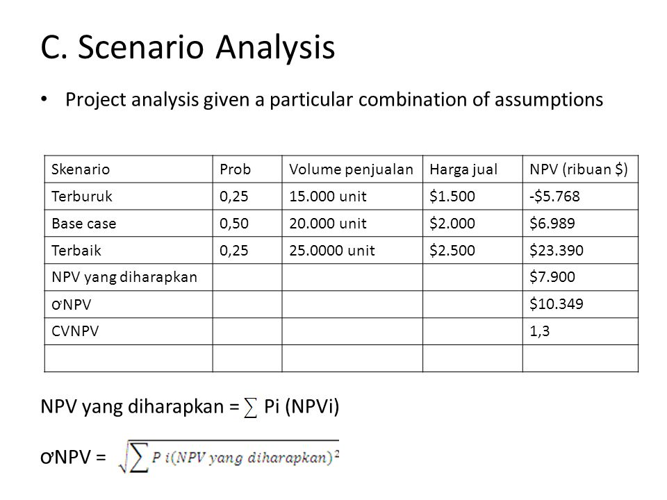 C. Scenario Analysis Project analysis given a particular combination of assumptions NPV yang diharapkan = Pi (NPVi) ơ NPV = SkenarioProbVolume penjual