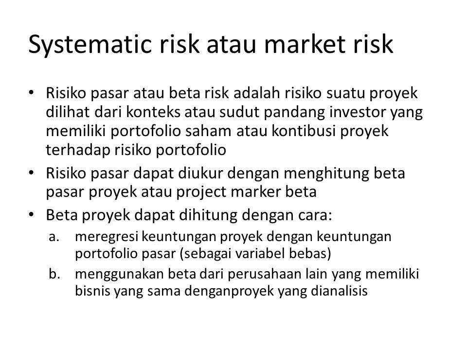 Systematic risk atau market risk Risiko pasar atau beta risk adalah risiko suatu proyek dilihat dari konteks atau sudut pandang investor yang memiliki portofolio saham atau kontibusi proyek terhadap risiko portofolio Risiko pasar dapat diukur dengan menghitung beta pasar proyek atau project marker beta Beta proyek dapat dihitung dengan cara: a.meregresi keuntungan proyek dengan keuntungan portofolio pasar (sebagai variabel bebas) b.menggunakan beta dari perusahaan lain yang memiliki bisnis yang sama denganproyek yang dianalisis