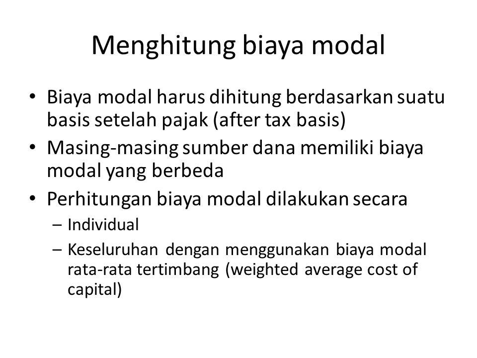 Menghitung biaya modal Biaya modal harus dihitung berdasarkan suatu basis setelah pajak (after tax basis) Masing-masing sumber dana memiliki biaya modal yang berbeda Perhitungan biaya modal dilakukan secara –Individual –Keseluruhan dengan menggunakan biaya modal rata-rata tertimbang (weighted average cost of capital)