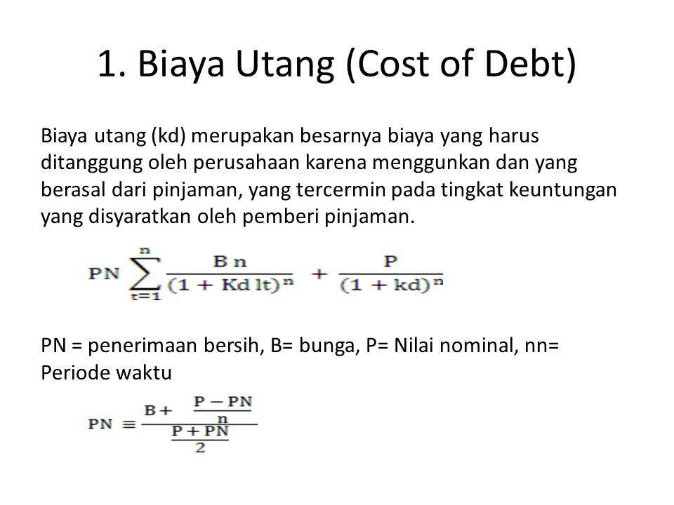 1. Biaya Utang (Cost of Debt) Biaya utang (kd) merupakan besarnya biaya yang harus ditanggung oleh perusahaan karena menggunkan dan yang berasal dari