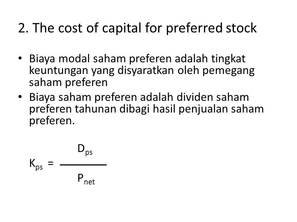 2. The cost of capital for preferred stock Biaya modal saham preferen adalah tingkat keuntungan yang disyaratkan oleh pemegang saham preferen Biaya sa