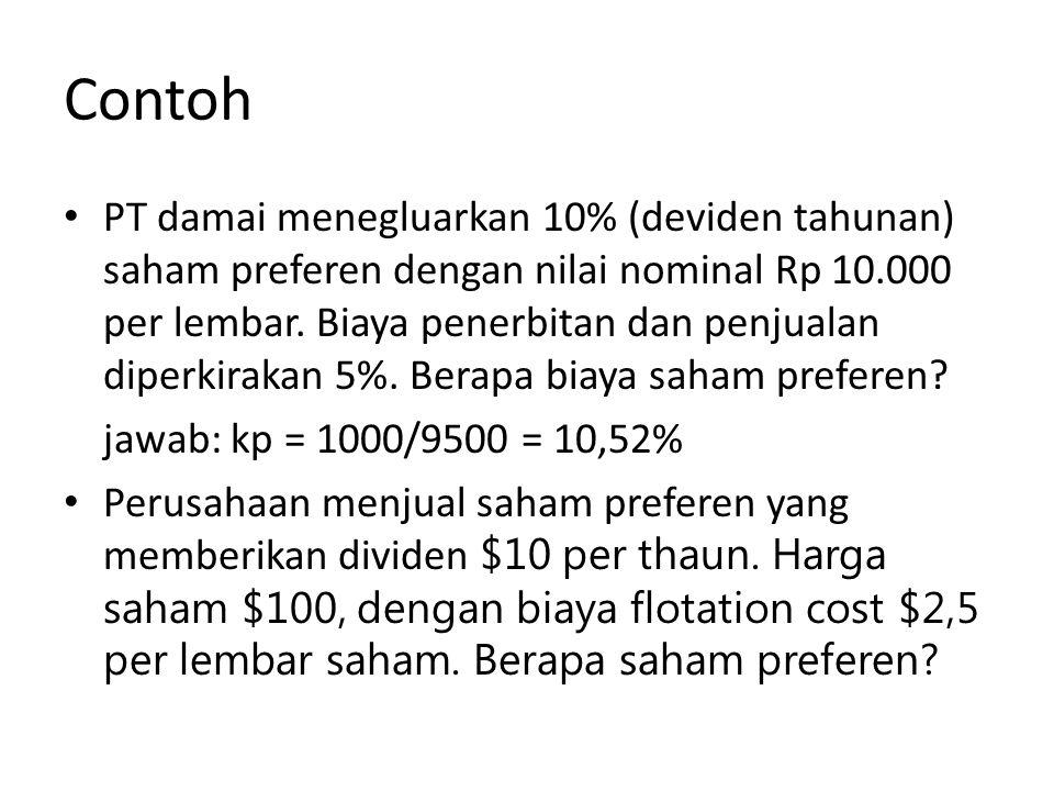 Contoh PT damai menegluarkan 10% (deviden tahunan) saham preferen dengan nilai nominal Rp 10.000 per lembar. Biaya penerbitan dan penjualan diperkirak
