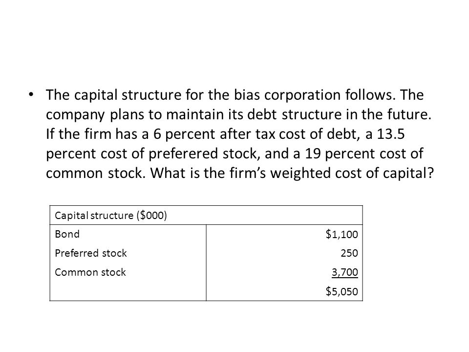 The capital structure for the bias corporation follows.
