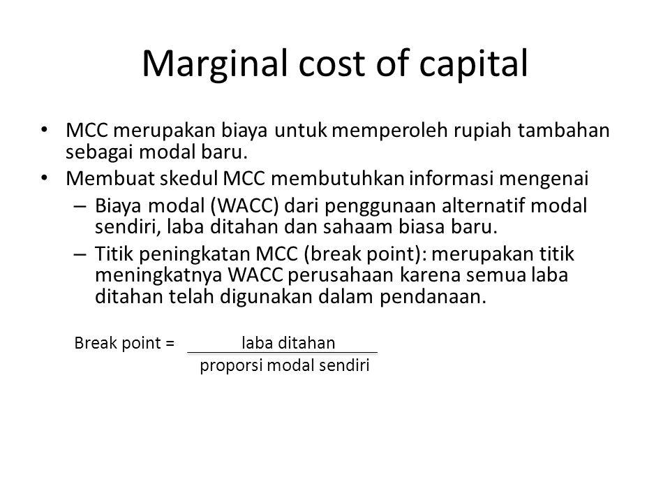 Marginal cost of capital MCC merupakan biaya untuk memperoleh rupiah tambahan sebagai modal baru. Membuat skedul MCC membutuhkan informasi mengenai –