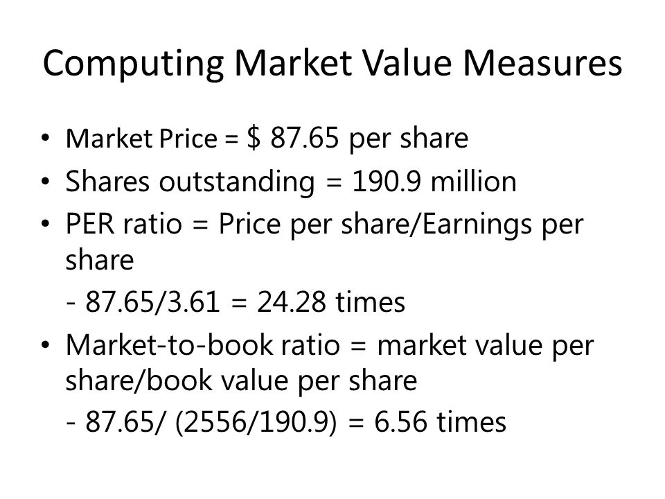 Computing Market Value Measures Market Price = $ 87.65 per share Shares outstanding = 190.9 million PER ratio = Price per share/Earnings per share - 87.65/3.61 = 24.28 times Market-to-book ratio = market value per share/book value per share - 87.65/ (2556/190.9) = 6.56 times