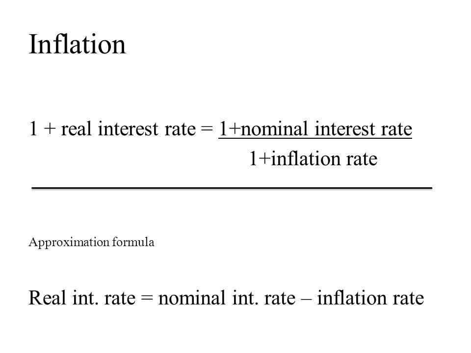 Inflation 1 + real interest rate = 1+nominal interest rate 1+inflation rate Approximation formula Real int.