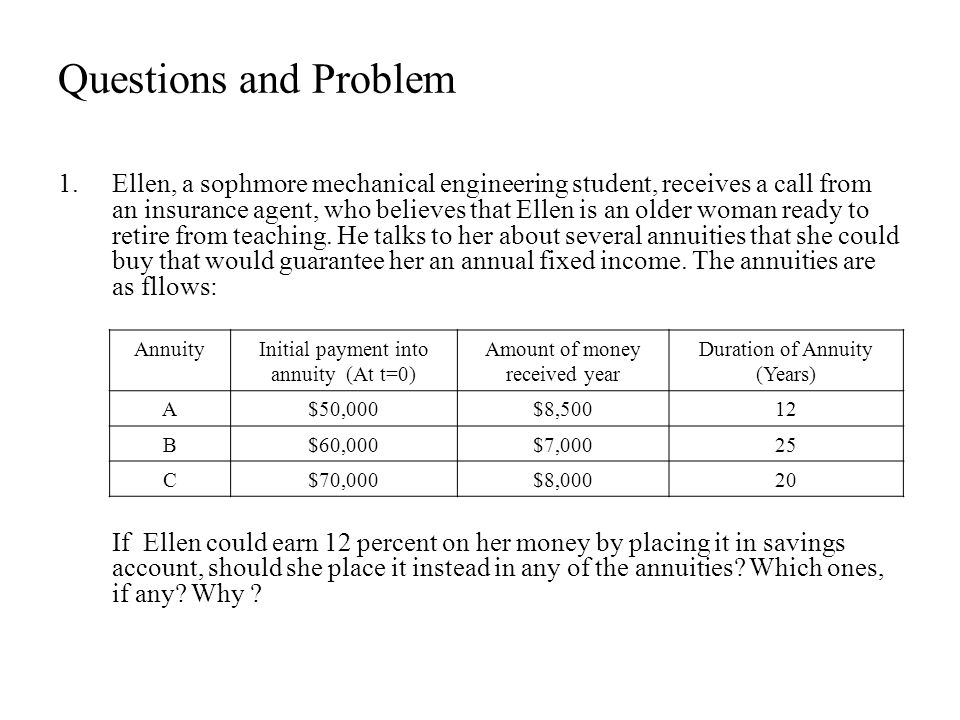 Questions and Problem 1.Ellen, a sophmore mechanical engineering student, receives a call from an insurance agent, who believes that Ellen is an older