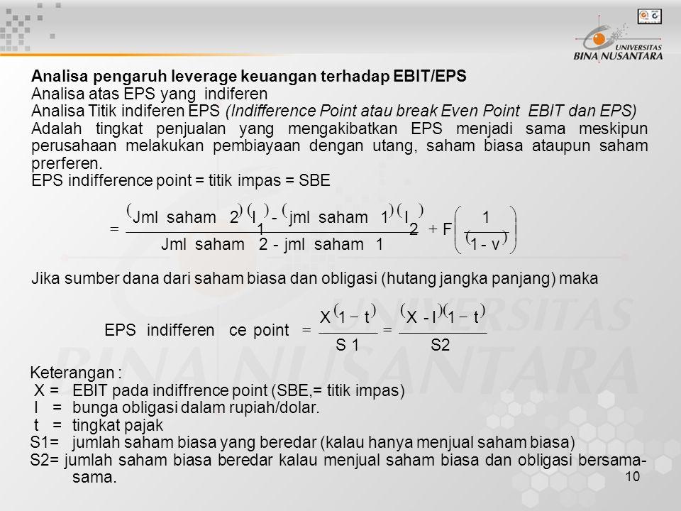 10 Analisa pengaruh leverage keuangan terhadap EBIT/EPS Analisa atas EPS yang indiferen Analisa Titik indiferen EPS (Indifference Point atau break Eve