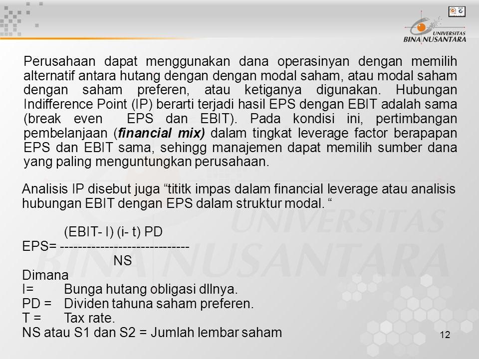 12 Perusahaan dapat menggunakan dana operasinyan dengan memilih alternatif antara hutang dengan dengan modal saham, atau modal saham dengan saham pref