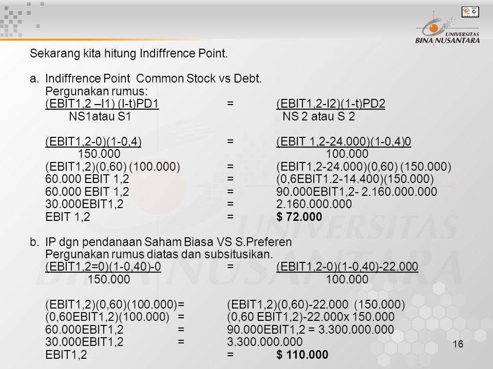 16 Sekarang kita hitung Indiffrence Point. a. Indiffrence Point Common Stock vs Debt. Pergunakan rumus: (EBIT1,2 –I1) (I-t)PD1 = (EBIT1,2-I2)(1-t)PD2