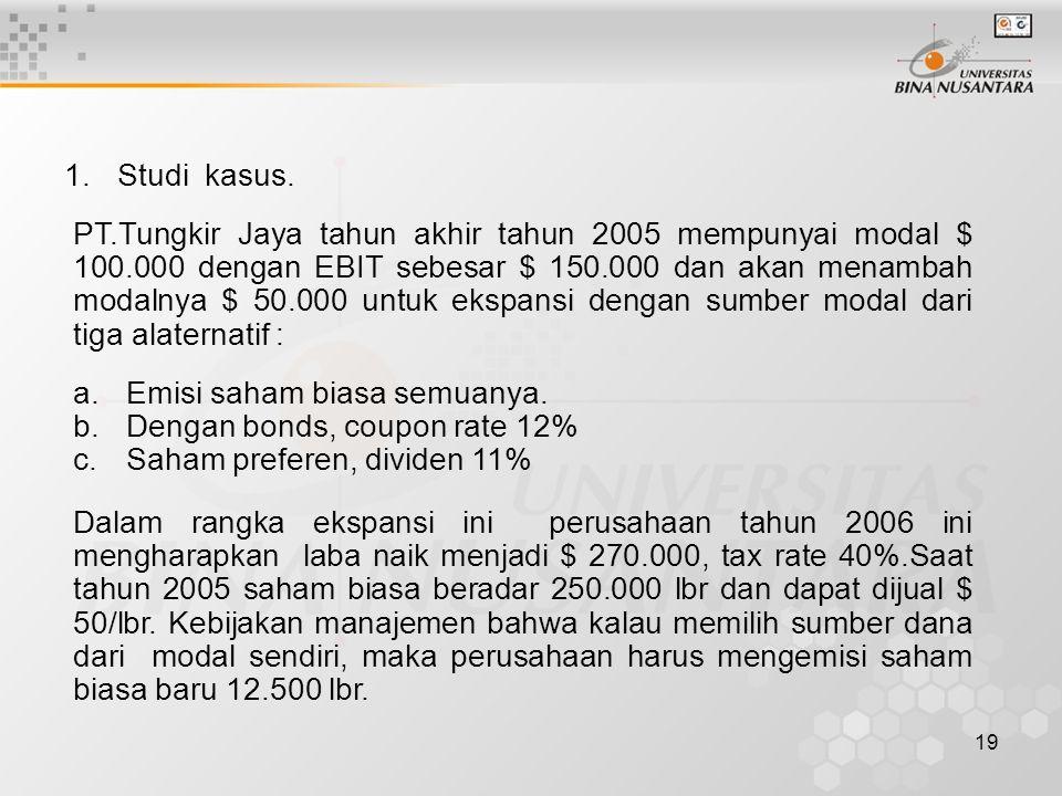 19 1.Studi kasus. PT.Tungkir Jaya tahun akhir tahun 2005 mempunyai modal $ 100.000 dengan EBIT sebesar $ 150.000 dan akan menambah modalnya $ 50.000 u