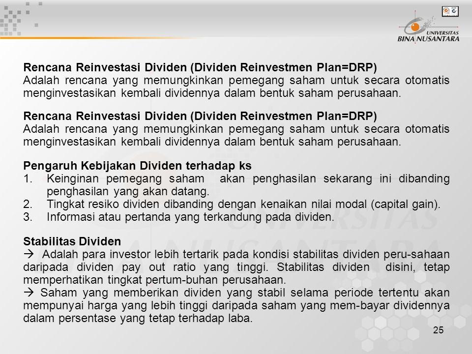25 Rencana Reinvestasi Dividen (Dividen Reinvestmen Plan=DRP) Adalah rencana yang memungkinkan pemegang saham untuk secara otomatis menginvestasikan k