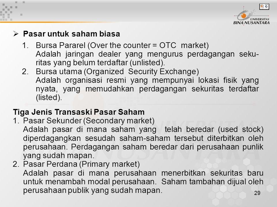 29 1.Bursa Pararel (Over the counter = OTC market) Adalah jaringan dealer yang mengurus perdagangan seku- ritas yang belum terdaftar (unlisted). 2.Bur