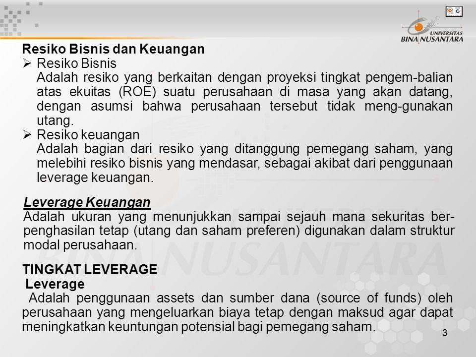 Dilihat dari income statement (full costing) Sales Revenue XXX Cost of good sold (Fc dan Vc) XX Operating Leverage Gross profit XX (Degree of operating Operating expences XX Levrage= DOL) EBIT XX _________________________________ Ineterst XX Financial Leverage EBT XX (Degree of financial Tax rate XX Leverage = DFL) EAT XX Tingkat leverage operasi = DOL Hal ini telah dibahas pada pertemuan sebelumnya, namun perlu diingkatkan kembali : Contoh :   F-CV-S CV-S DOL FV-PQ V-PQ penjualan % perubahan EBIT % perubahan DOL sales Q    