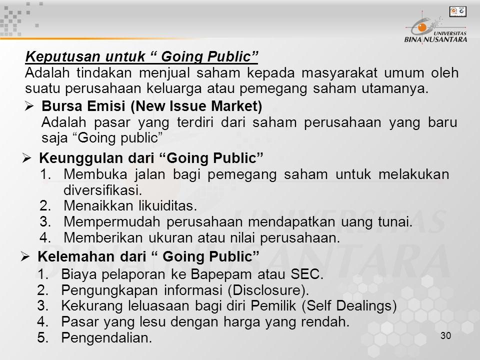 "30 Keputusan untuk "" Going Public"" Adalah tindakan menjual saham kepada masyarakat umum oleh suatu perusahaan keluarga atau pemegang saham utamanya. "