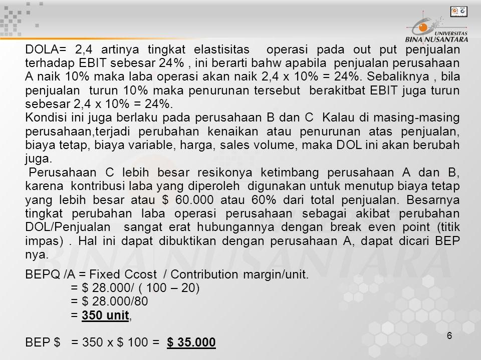 17 Dari hal tsb diatas, jelas bahwa :  EBIT pendanaan Common Stock VS Debt adalah sama yaitu sebesar $ 72.000  EBIT pendanaan Common Stock VS Preferred Stock adalah sama $ 110.000 Bagaimana dengan EPS, apakah sama.