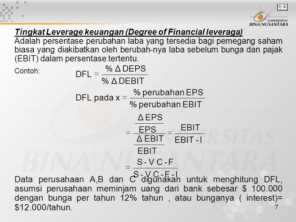 7 Tingkat Leverage keuangan (Degree of Financial leveraga) Adalah persentase perubahan laba yang tersedia bagi pemegang saham biasa yang diakibatkan o