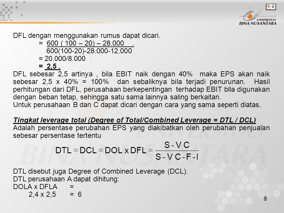 8 DFL dengan menggunakan rumus dapat dicari. = 600 ( 100 – 20) – 28.000. 600(100-20)-28.000-12.000 = 20.000/8.000 = 2,5. DFL sebesar 2,5 artinya, bila