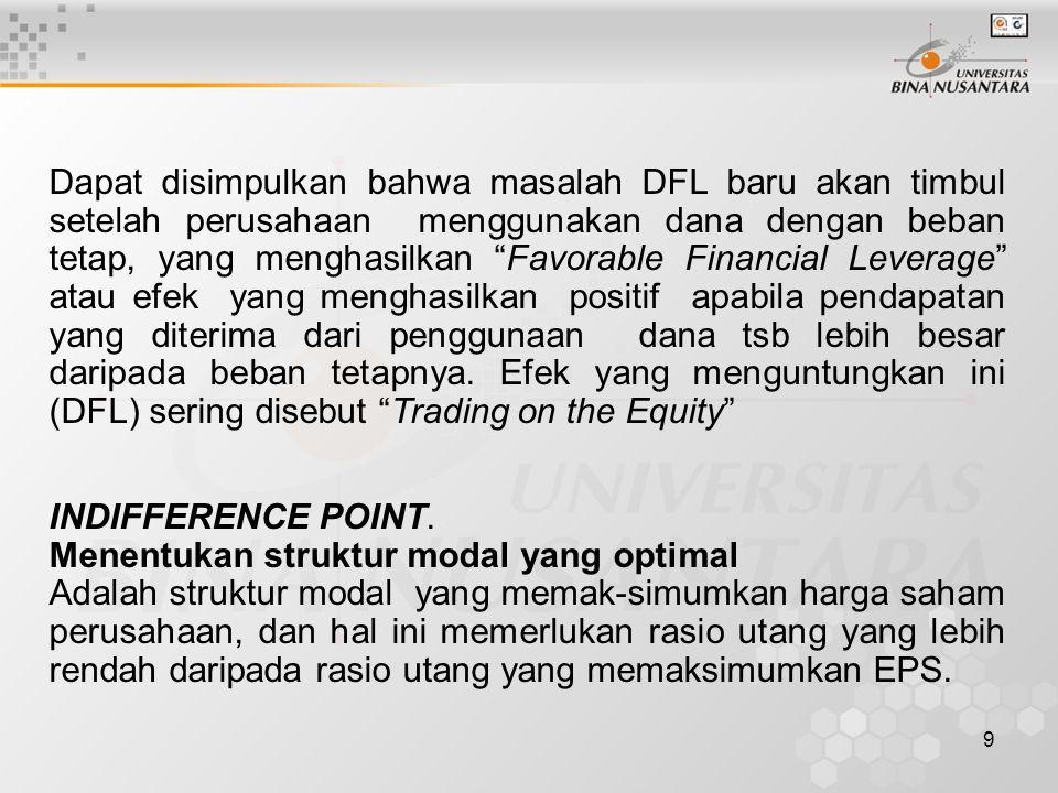 """9 Dapat disimpulkan bahwa masalah DFL baru akan timbul setelah perusahaan menggunakan dana dengan beban tetap, yang menghasilkan """"Favorable Financial"""