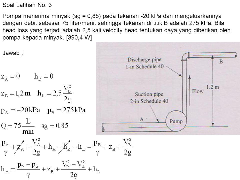 Soal Latihan No. 3 Pompa menerima minyak (sg = 0,85) pada tekanan -20 kPa dan mengeluarkannya dengan debit sebesar 75 liter/menit sehingga tekanan di