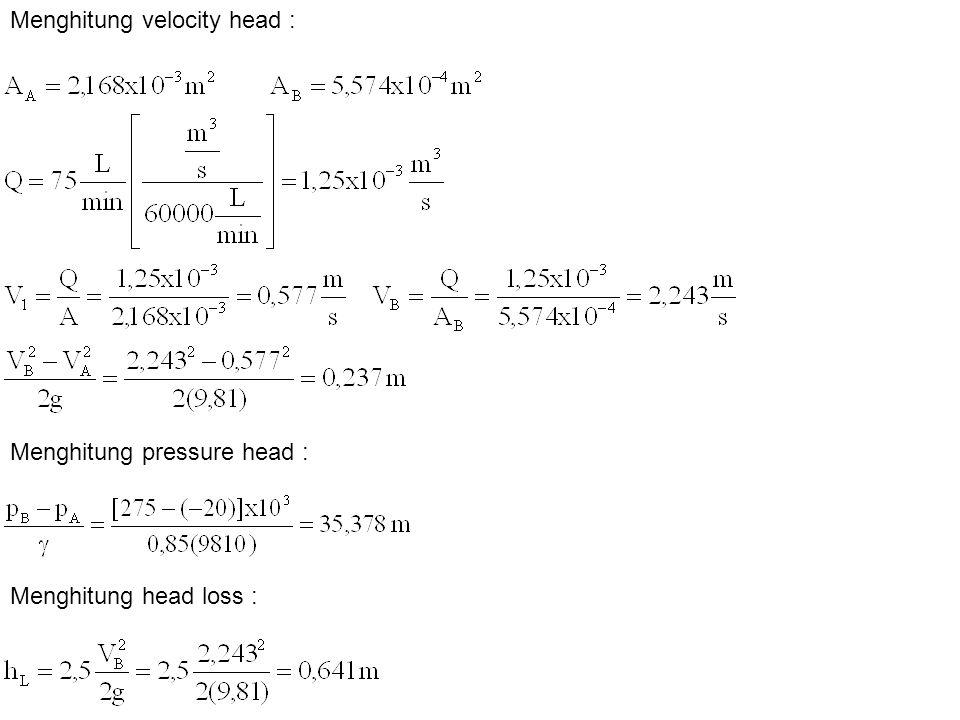 Menghitung velocity head : Menghitung pressure head : Menghitung head loss :