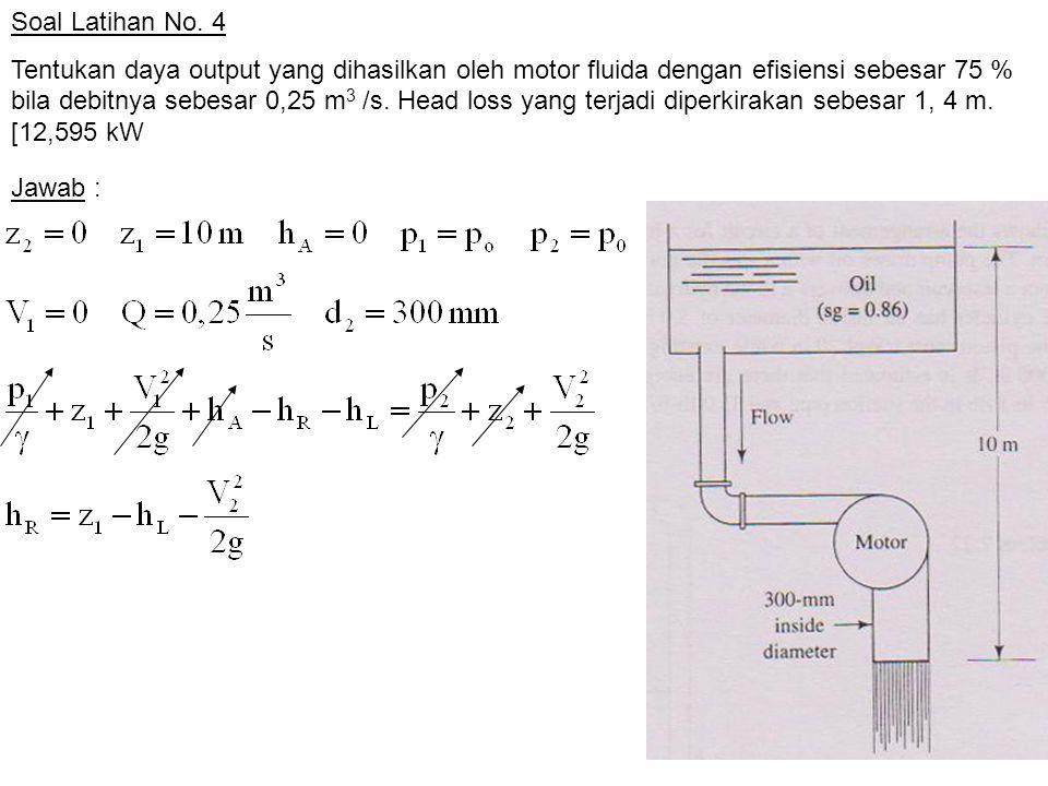 Soal Latihan No. 4 Tentukan daya output yang dihasilkan oleh motor fluida dengan efisiensi sebesar 75 % bila debitnya sebesar 0,25 m 3 /s. Head loss y
