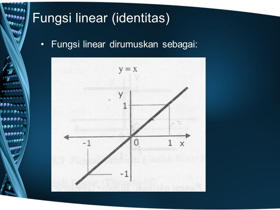 Fungsi linear (identitas) Fungsi linear dirumuskan sebagai:
