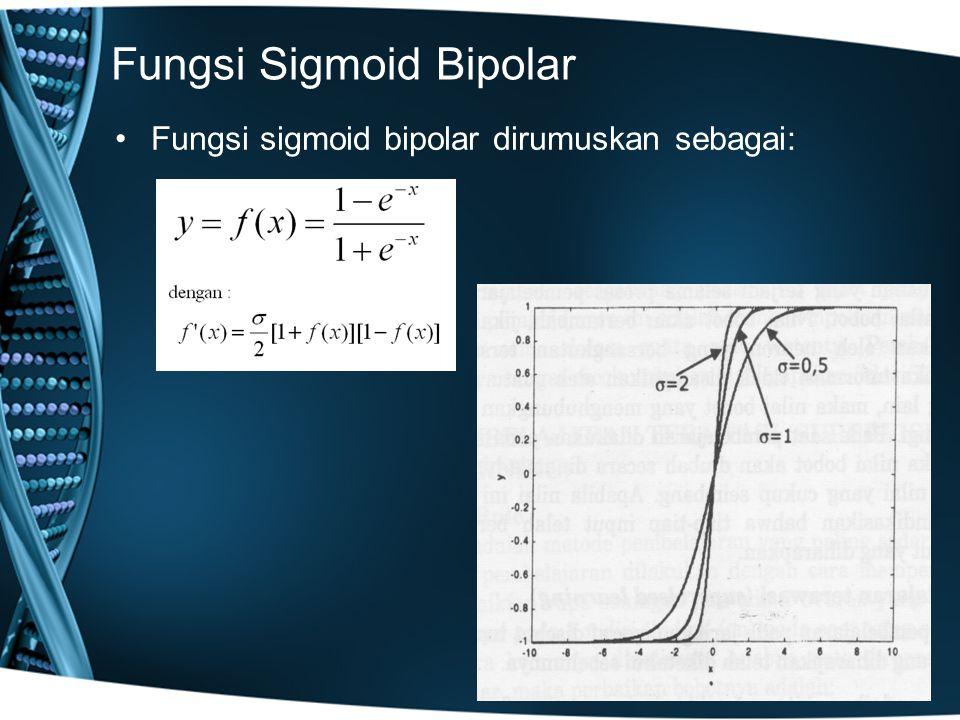 Fungsi Sigmoid Bipolar Fungsi sigmoid bipolar dirumuskan sebagai: