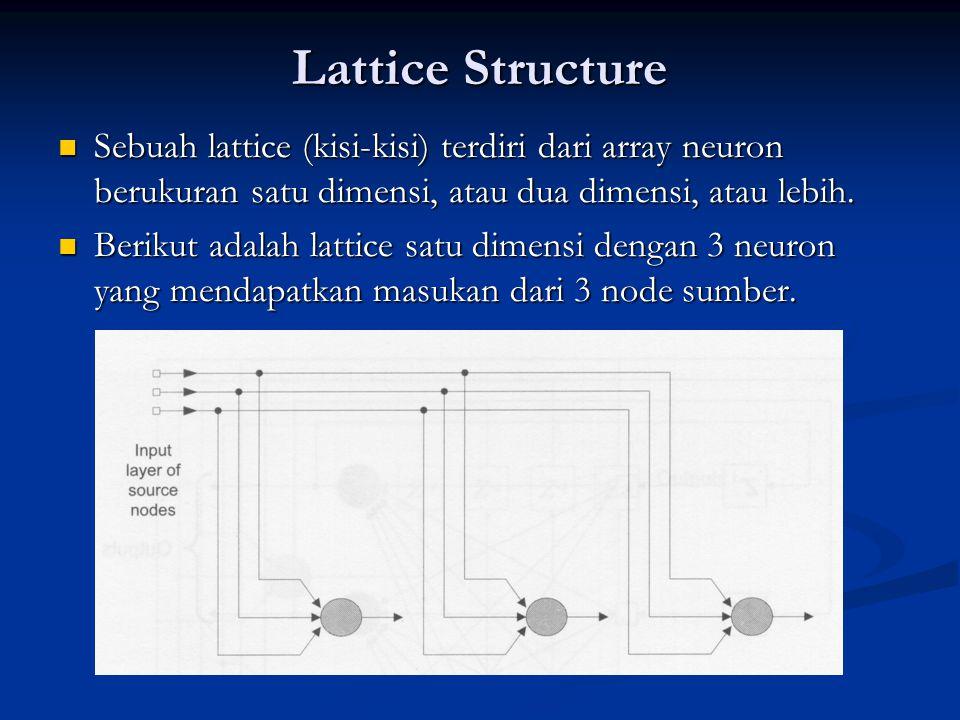 Lattice Structure Sebuah lattice (kisi-kisi) terdiri dari array neuron berukuran satu dimensi, atau dua dimensi, atau lebih. Sebuah lattice (kisi-kisi