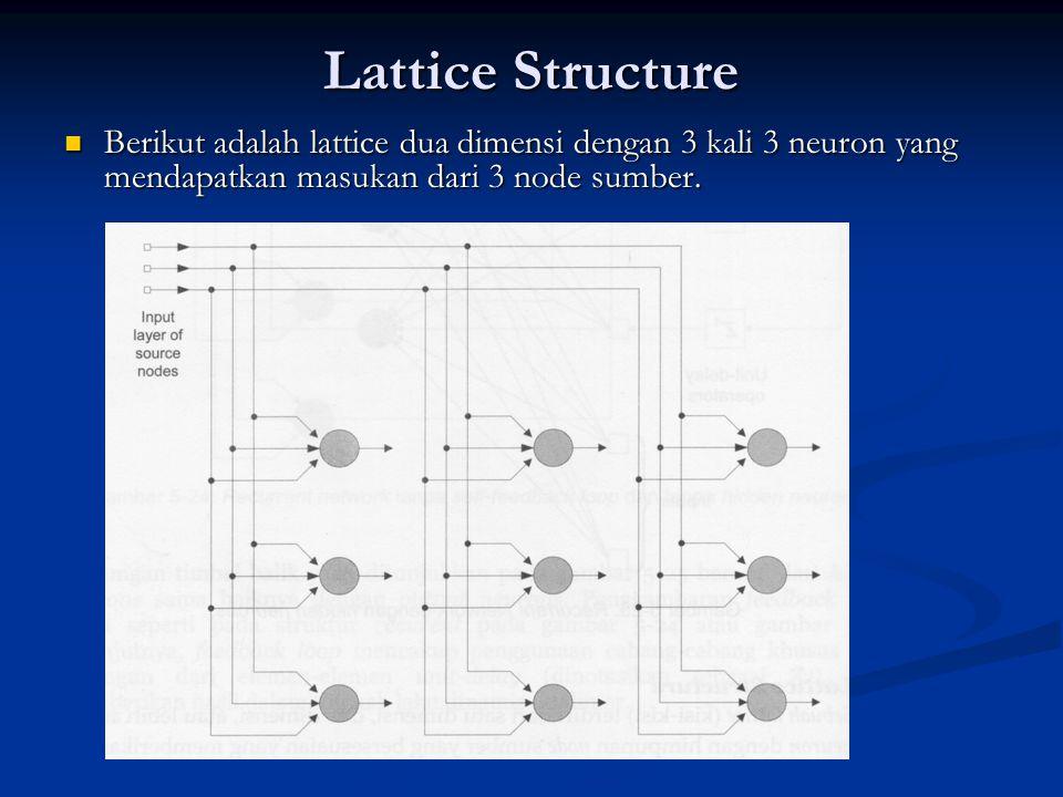 Lattice Structure Berikut adalah lattice dua dimensi dengan 3 kali 3 neuron yang mendapatkan masukan dari 3 node sumber. Berikut adalah lattice dua di